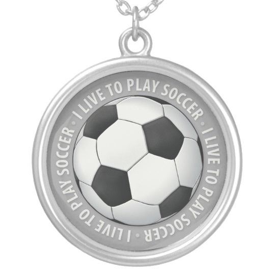 I Live To Play Soccer | Sport Player Silver Plated Necklace