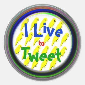 I Live to Tweet Round Stickers