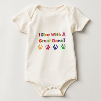 I Live With A Great Dane Baby Bodysuit