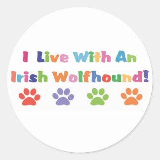 I Live With An Irish Wolfhound Sticker