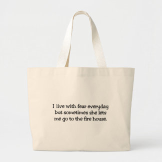 I live with fear canvas bag