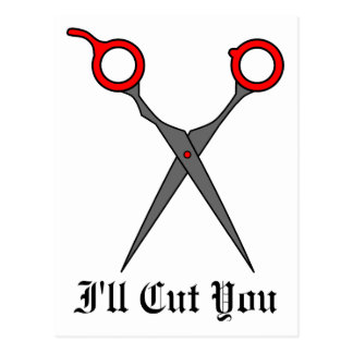 I ll Cut You Red Hair Cutting Scissors Postcard