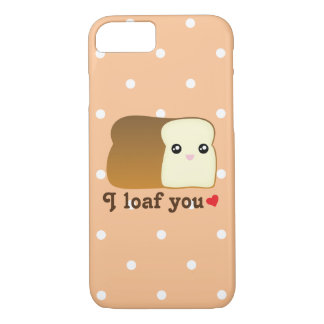 I Loaf You Cute Kawaii Bread Cartoon Food Pun iPhone 8/7 Case