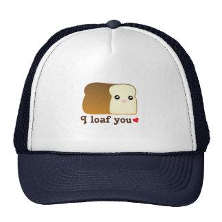 I Loaf You Kawaii Bread Funny Cartoon Food Pun Cap