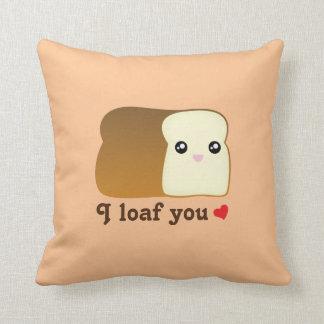 I loaf you kawaii bread funny cartoon food pun cushion