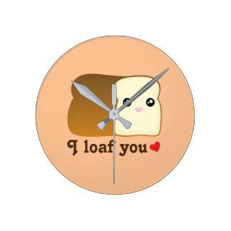 I Loaf You Kawaii Bread Funny Cartoon Food Pun Wall Clocks