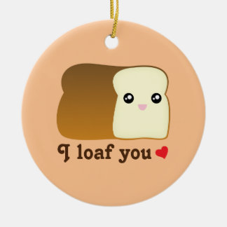 I Loaf You Kawaii Bread Funny Food Pun Christmas Christmas Ornament