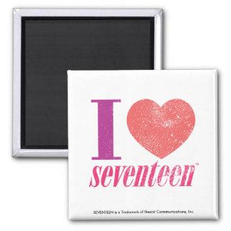 I Love 17 Square Magnet