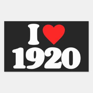 I LOVE 1920 RECTANGULAR STICKERS