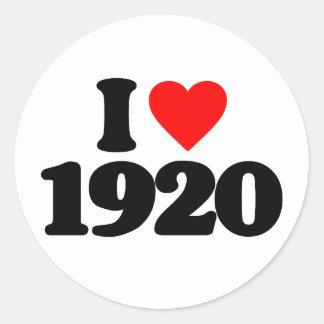 I LOVE 1920 ROUND STICKER