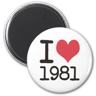 I Love 1981 Heart Products & Designs! Refrigerator Magnets