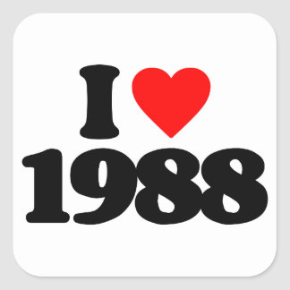 I LOVE 1988 SQUARE STICKER