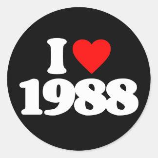 I LOVE 1988 ROUND STICKER
