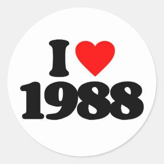 I LOVE 1988 ROUND STICKERS