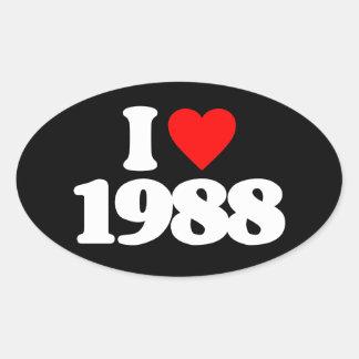 I LOVE 1988 OVAL STICKER