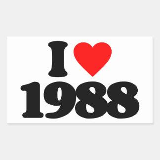 I LOVE 1988 RECTANGULAR STICKERS