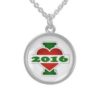 I Love 2016 Round Pendant Necklace