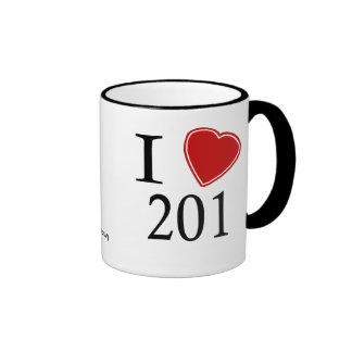 I Love 201 Jersey City Ringer Mug