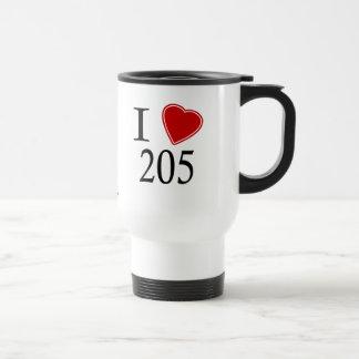 I Love 205 Birmingham Stainless Steel Travel Mug