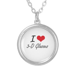 I love 3-D Glasses Round Pendant Necklace