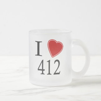 I Love 412 Pittsburgh Frosted Glass Coffee Mug
