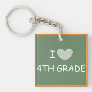 I Love 4th Grade Square Acrylic Key Chain