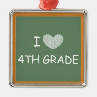 I Love 4th Grade Silver-Colored Square Decoration