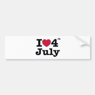 i love 4th july  my birtday bumper sticker