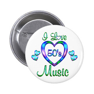 I Love 50s Music 6 Cm Round Badge
