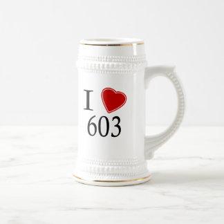I Love 603 Manchester Beer Steins