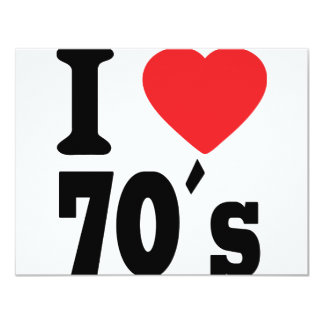 I Love 70 ´s 11 Cm X 14 Cm Invitation Card