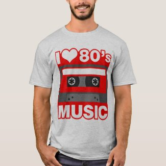 I Love 80s Music Grey T-shirt - many colours available