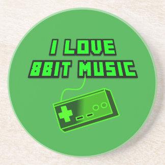 I Love 8bit Music Green Controller Digital Art Coaster