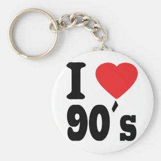 I Love 90 ´s Basic Round Button Key Ring