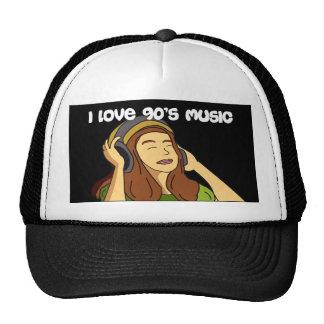 I Love 90s Music Girl with Headphones Black Cap