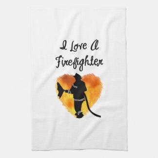 I Love A Firefighter Tea Towel