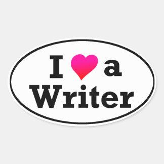 I Love A Writer Bumper Sticker Oval Sticker
