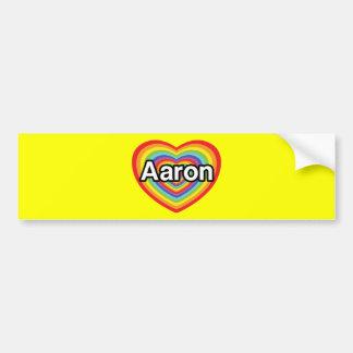 I love Aaron, rainbow heart Bumper Stickers