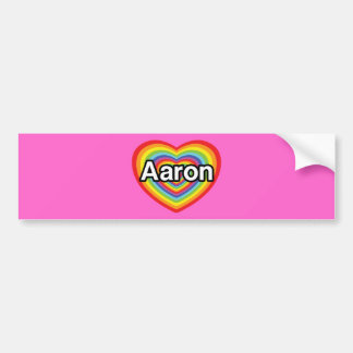 I love Aaron, rainbow heart Bumper Sticker