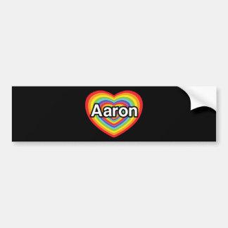 I love Aaron rainbow heart Bumper Stickers