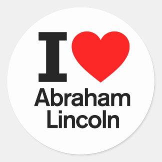 I Love Abraham Lincoln Round Stickers