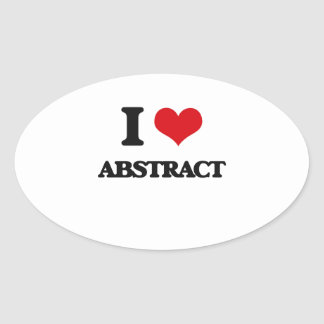 I Love Abstract Oval Sticker