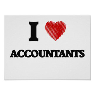 I love Accountants (Heart made from words) Poster