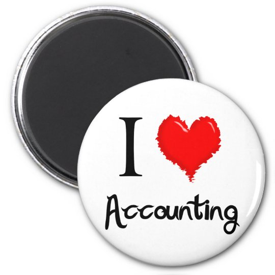 i love accounting 6 cm round magnet