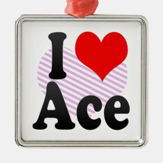 I love Ace Silver-Colored Square Decoration
