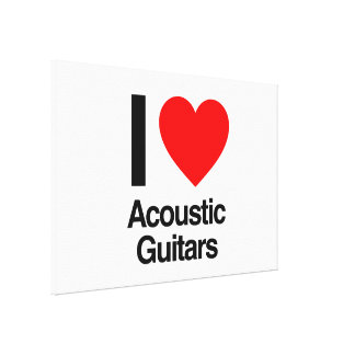 i love acoustic guitars stretched canvas print