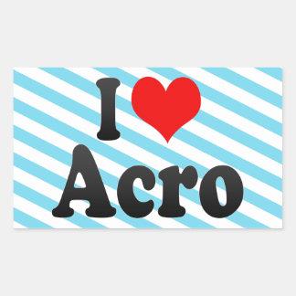 I love Acro Rectangular Sticker