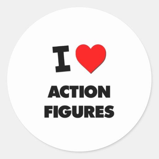 I Love Action Figures Round Sticker