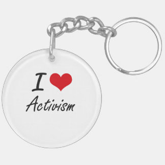 I Love Activism Artistic Design Double-Sided Round Acrylic Key Ring