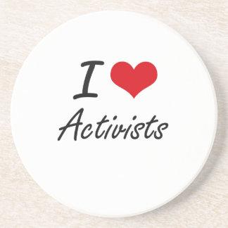 I Love Activists Artistic Design Drink Coasters